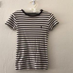 Ralph Lauren Brown and Cream Stripe Top